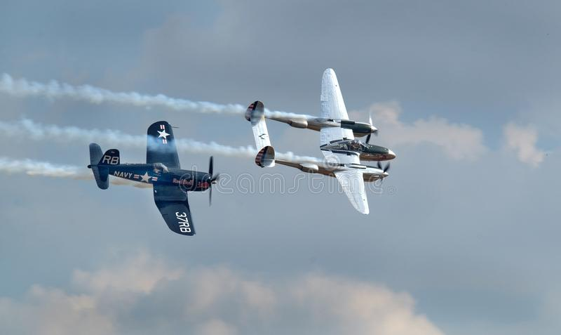 Vought Corsair F4U and Lockheed lightning. stock photography