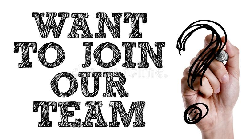 Voulez joindre notre équipe ? sur une image conceptuelle photos libres de droits