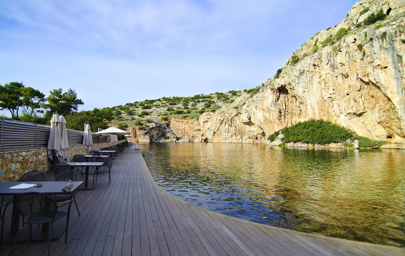 Vouliagmeni lake in Attica Greece royalty free stock photo