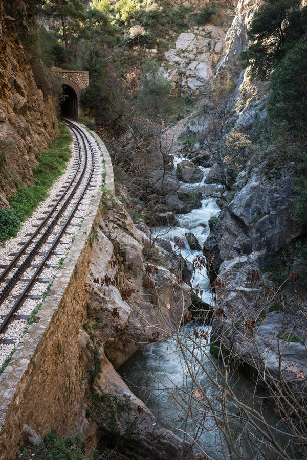 Vouraikos gorge, Peloponnese, Greece. Cog Railway in Vouraikos gorge , Peloponnese, Greece stock images