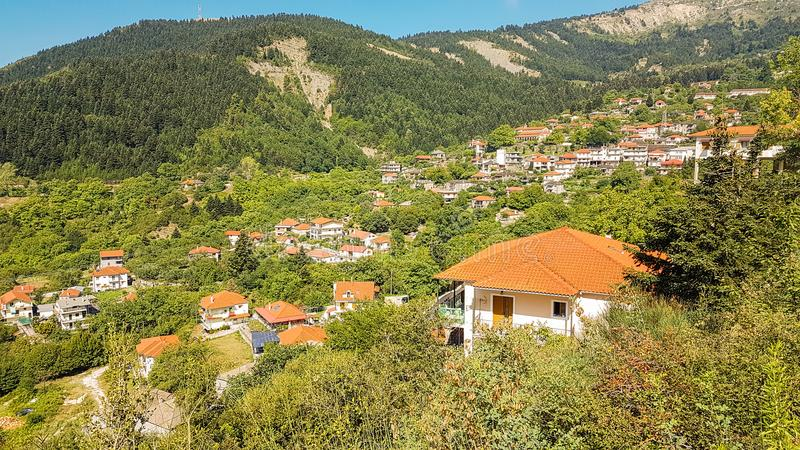 Vourgareli village in Epirus Arta Greece. Vourgareli village summer season in Epirus Arta Greece royalty free stock image
