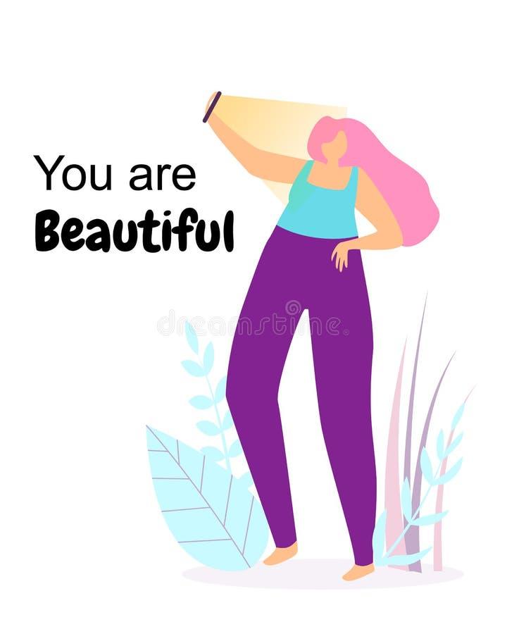 Vous êtes beau La jeune femme heureuse font Selfie illustration stock