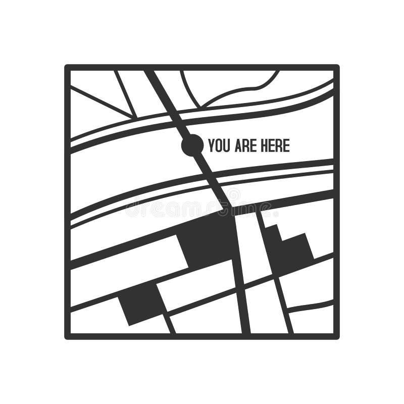 Vous êtes ici icône plate d'ensemble de carte sur le blanc illustration de vecteur