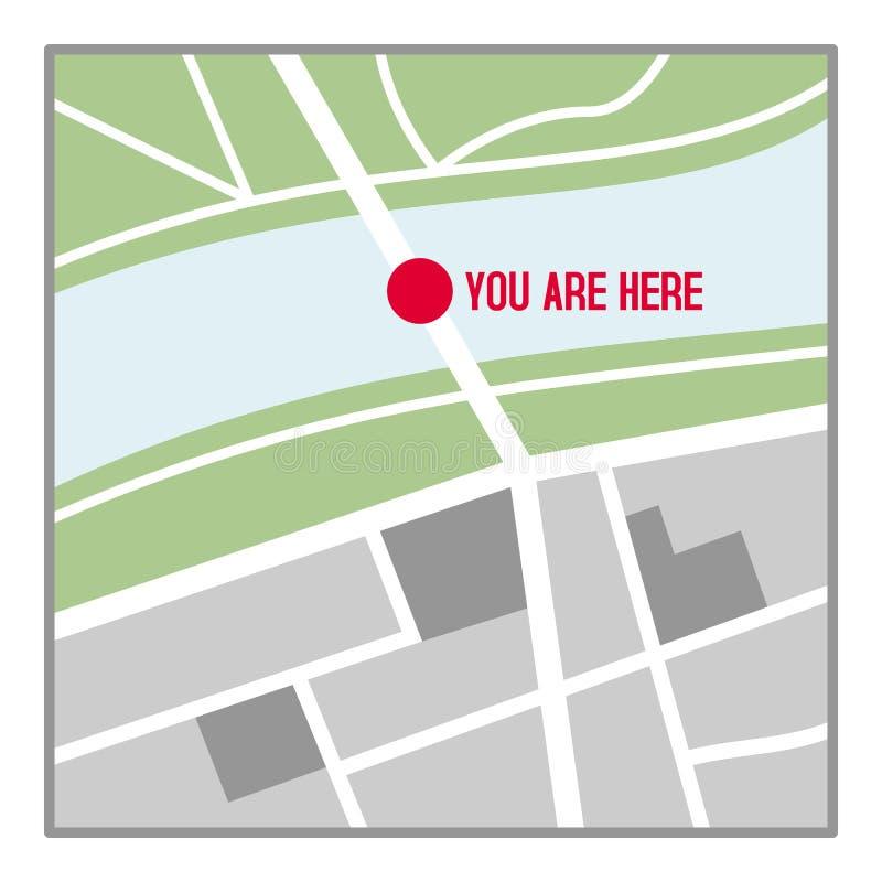 Vous êtes ici icône plate de carte d'isolement sur le blanc illustration libre de droits