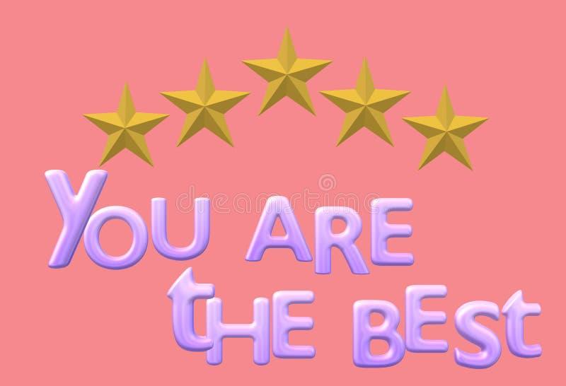 Vous êtes la meilleure e-carte inspirée de carte électronique de salutation illustration libre de droits