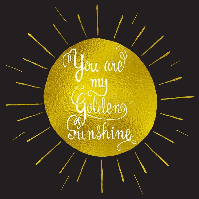 Vous êtes ma citation romantique tirée par la main de soleil illustration de vecteur