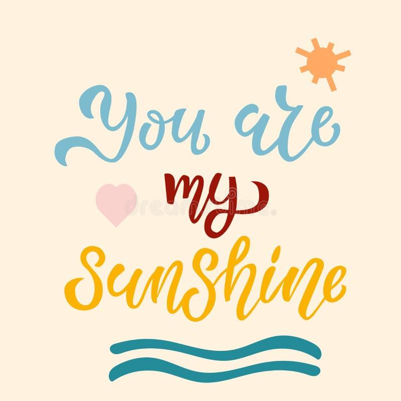 Vous êtes ma main de soleil esquissée marquant avec des lettres la typographie, logotype, insigne, affiche, logo, étiquette Illus illustration libre de droits