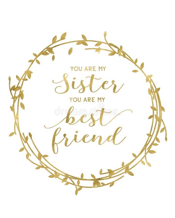 Vous êtes ma soeur que vous êtes mon meilleur ami illustration libre de droits