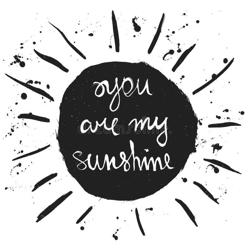 Vous êtes mon soleil Citation romantique illustration libre de droits