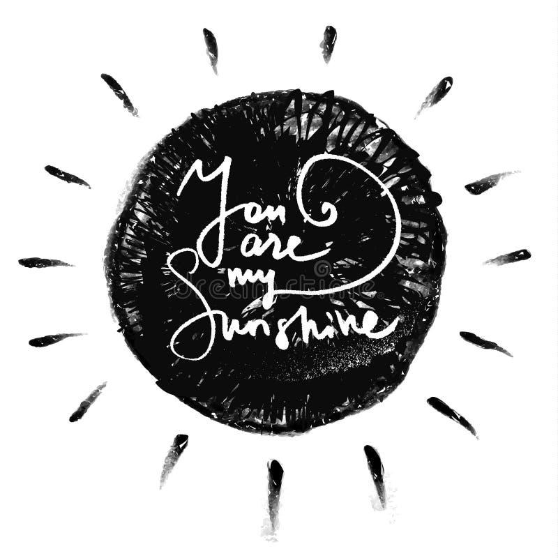 Vous êtes mon soleil Citation romantique illustration de vecteur