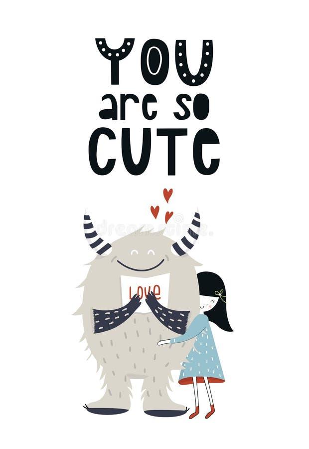 Vous êtes si mignon - affiche drôle de crèche avec le monstre, la petite fille et le lettrage dans le style scandinave illustration stock