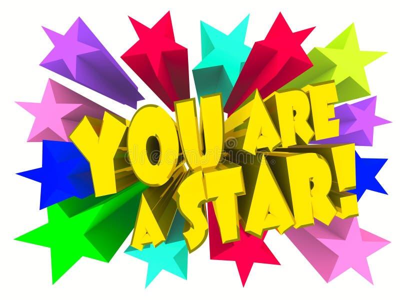 Vous êtes un slogan d'étoile Texte d'or avec les étoiles vives illustration libre de droits