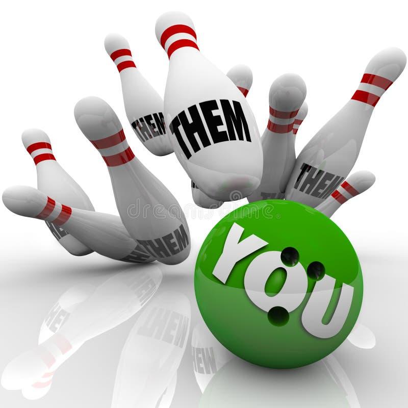 Vous contre eux jeu de concurrence de victoire de boules de bowling illustration de vecteur
