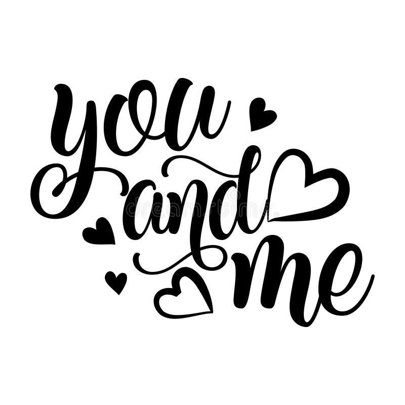 Vous et moi - typographie de vecteur illustration libre de droits