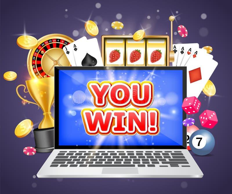 Vous gagnez le calibre de conception de bannière d'affiche de vecteur de casino illustration stock