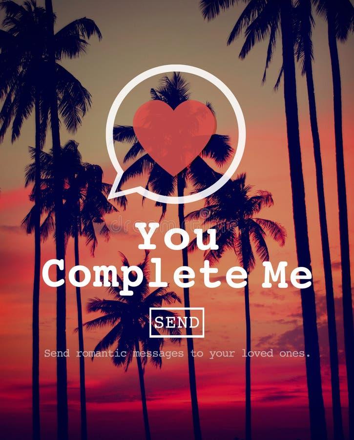 Vous m'accomplissez accomplissez Valentine Romance Love Heart Dating concentré image stock