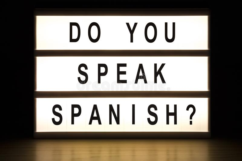 Vous parlez le panneau espagnol de signe de caisson lumineux photos libres de droits