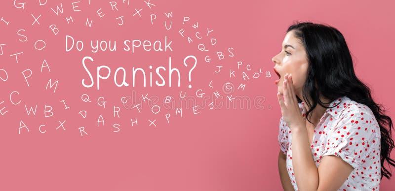 Vous parlez le thème espagnol avec parler de jeune femme images libres de droits