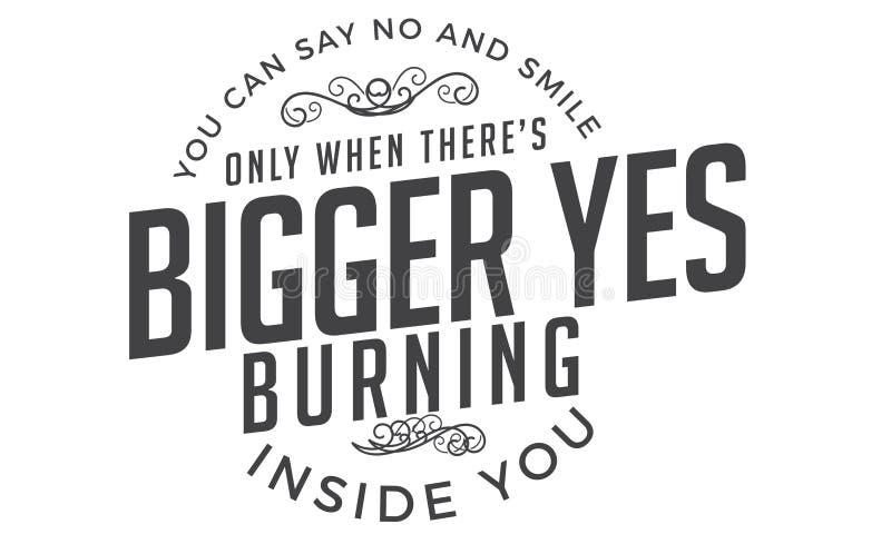Vous pouvez dire non et sourire seulement quand là le ` s un plus grand oui brûlant à l'intérieur de vous illustration stock