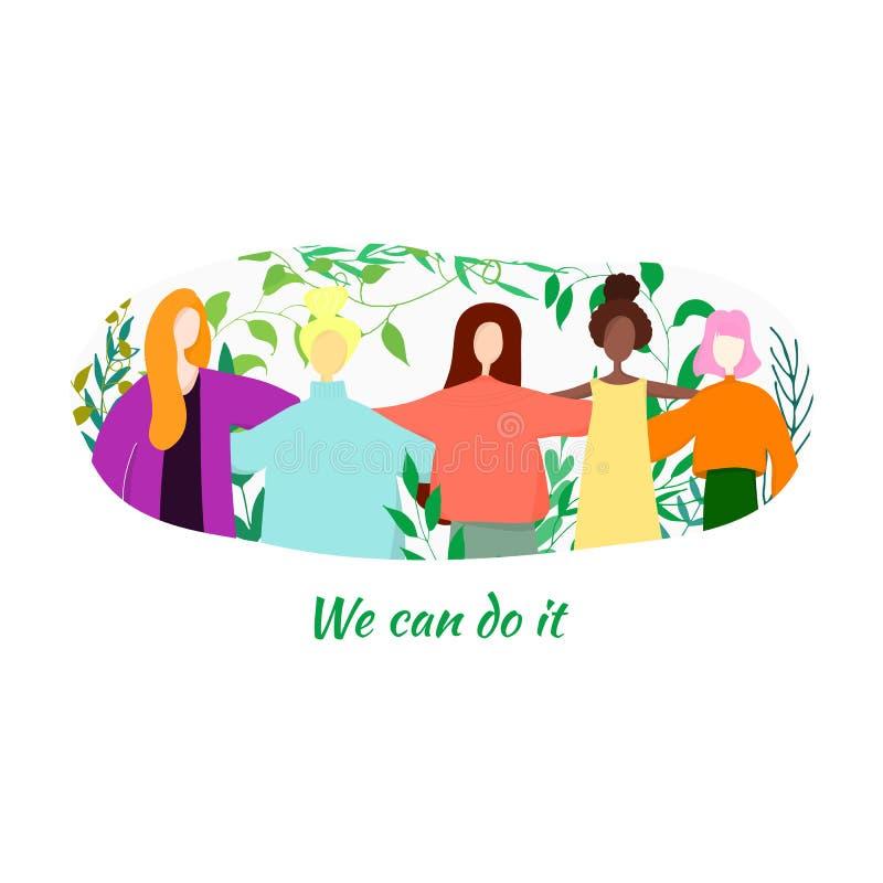 Vous pouvez la faire Un groupe de femmes se tenant ensemble et tenant des mains avec des feuilles autour illustration stock