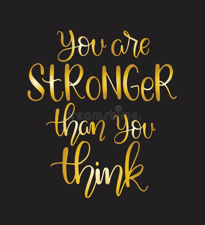 Vous ?tes plus fort que vous pensez lettrage de main, citation de motivation illustration libre de droits