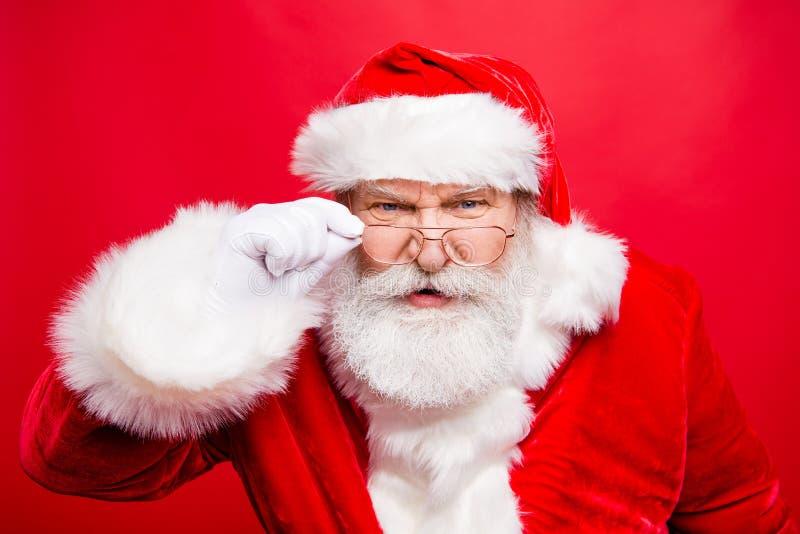Vous voulez un cadeau ? Vous avez le mauvais comportement ! Fermez-vous vers le haut du portrait de l'unh image libre de droits