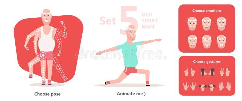 Vovô ativo e saudável Ancião da pose da ioga ilustração do vetor