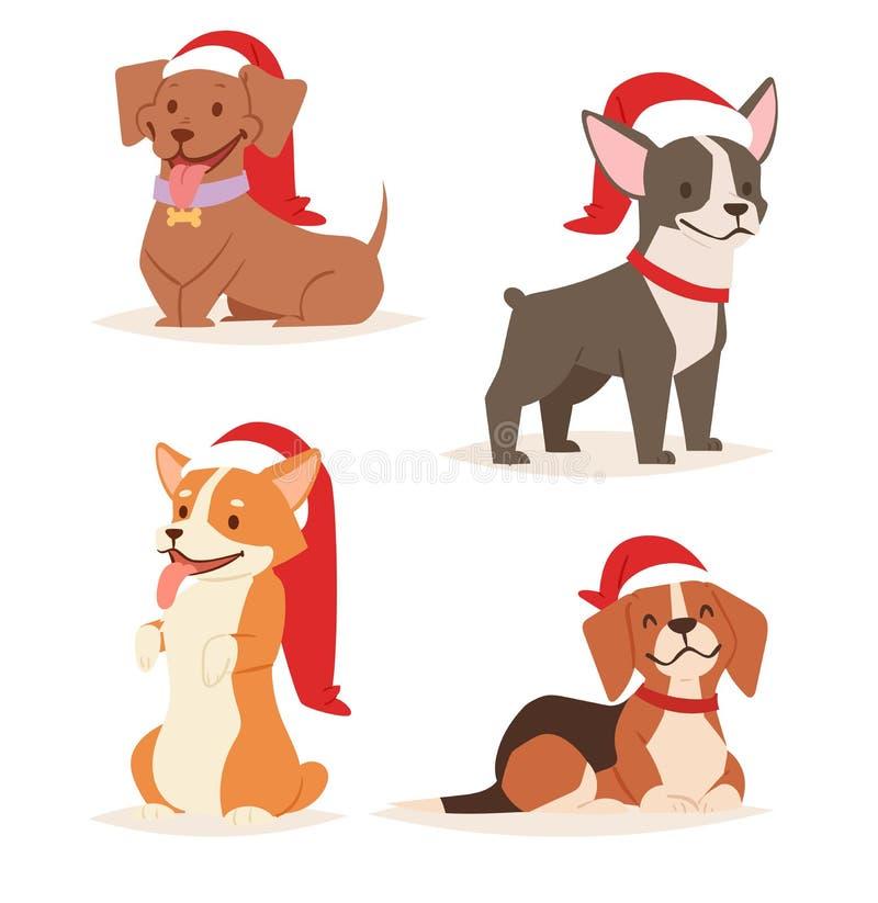 Vovven för husdjur för hem för illustration för tecken för valp för tecknad film för julhundvektor poserar den gulliga som olik X royaltyfri illustrationer