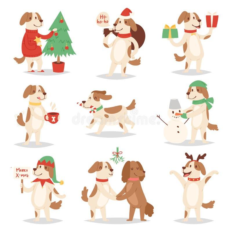 Vovven för husdjur för par för illustration för tecken för valp för tecknad film för julhundvektor poserar den gulliga som olik X vektor illustrationer