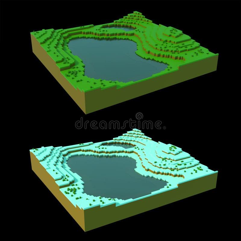 Voxel landscape in two seasons vector illustration