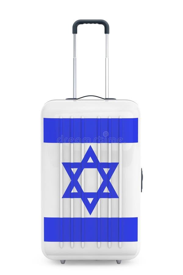 Voyage à Israel Concep Valise avec le drapeau de l'Israël rendu 3d illustration stock