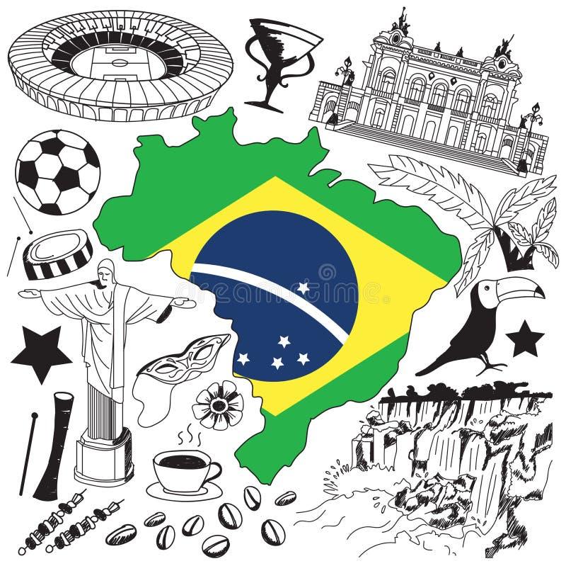 Voyage à l'icône de dessin de griffonnage du Brésil Gribouillez avec la culture, le costume, le point de repère et la cuisine du  illustration libre de droits