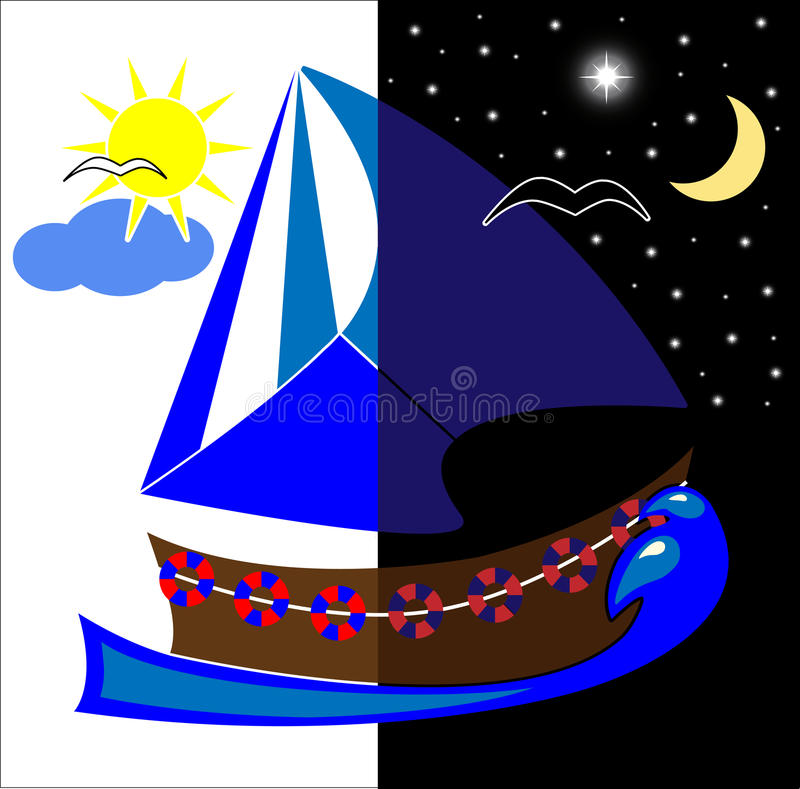 Voyage. On a small boat. around the world stock illustration