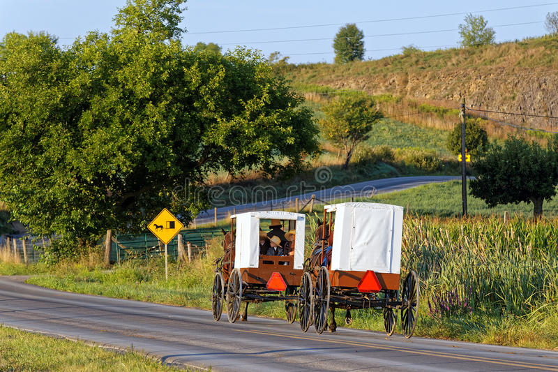 Voyage amish de familles avec le cheval et le chariot photos libres de droits