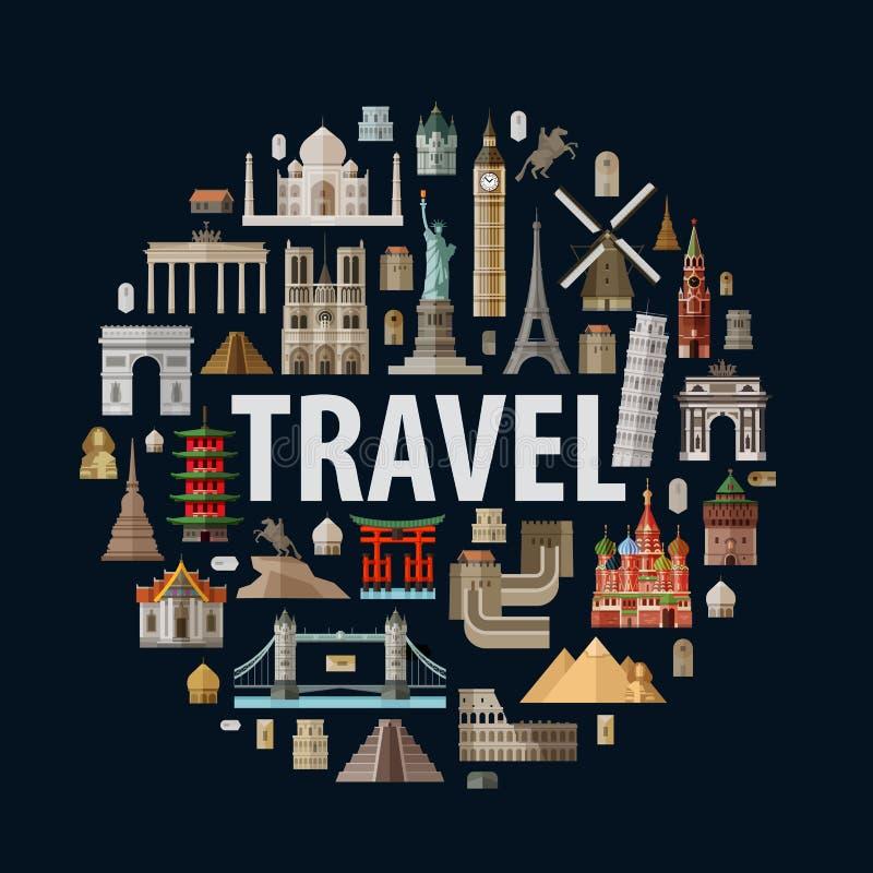 Voyage architecture historique du monde illustration libre de droits