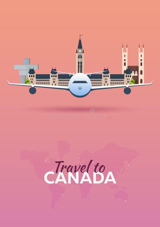 Voyage au Canada Avion avec des attractions Drapeaux de course Style plat illustration de vecteur
