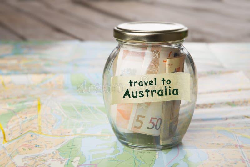 Voyage Australie - pot et feuille de route d'argent image libre de droits