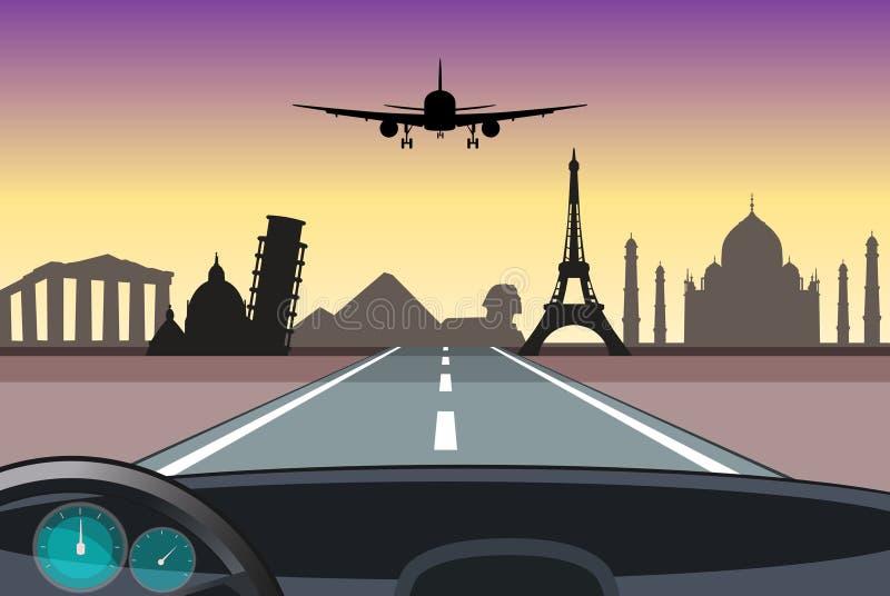 Voyage autour du monde illustration libre de droits