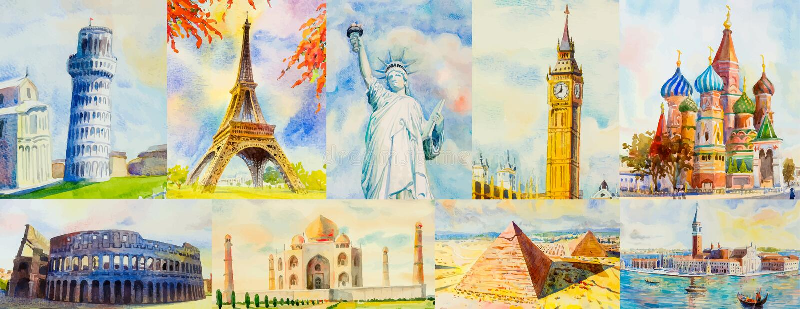 Voyage autour du monde et des vues Bornes limites c?l?bres illustration stock