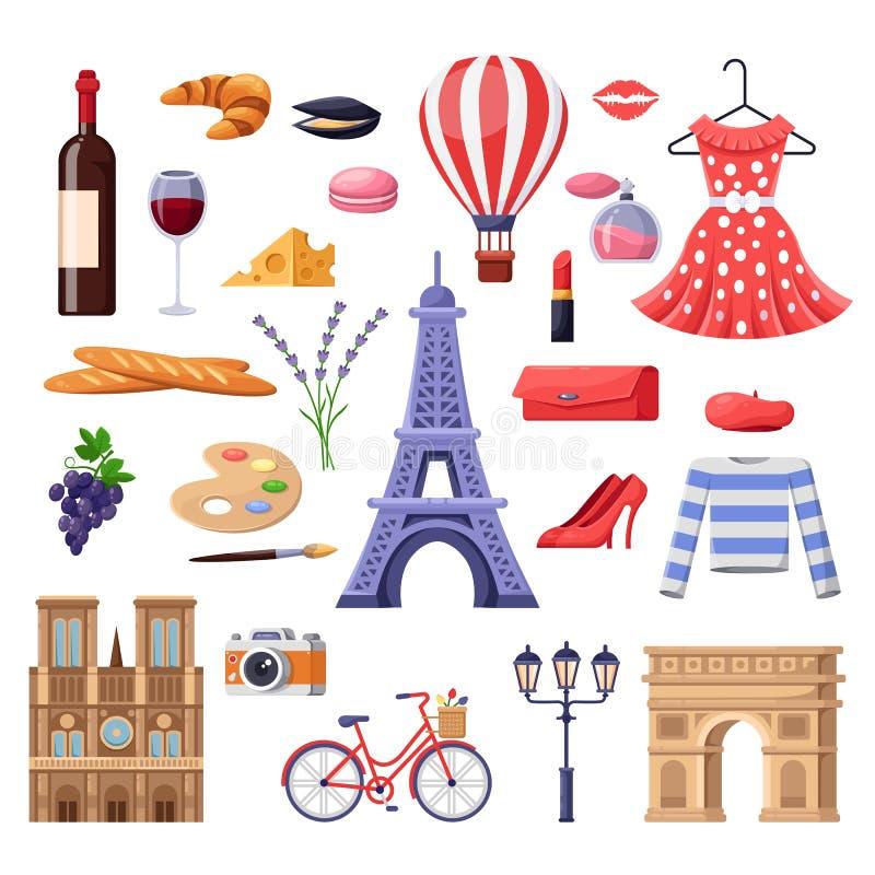 Voyage aux éléments de conception de Frances Points de repère de touristes de Paris, mode et illustration de nourriture Icônes d' illustration de vecteur