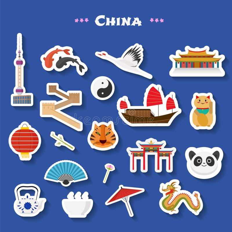 Voyage aux icônes de vecteur de la Chine réglées Points de repère chinois, temple, Grande Muraille, bâtiments d'architecture illustration stock