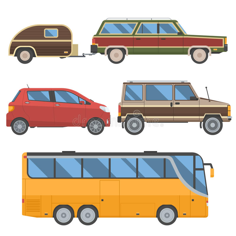 Voyage Cars Set. Travel automobile collection in retro colors. Summer auto trip transport. Vector autobus, hatchback, retro minivan and old station wagon with royalty free illustration