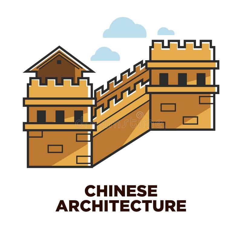 Voyage chinois de Grande Muraille d'architecture à l'attraction de la Chine illustration libre de droits