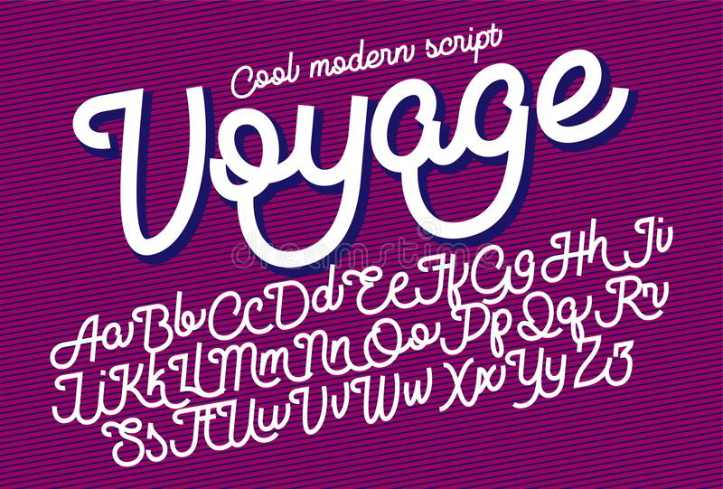 Voyage cool modern script font. Voyage - cool and modern script font, monolinear with cut sharp ends.nnCan be used for your various design projects such as stock illustration