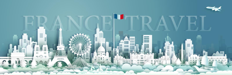 Voyage d'architecture de la France avec le voilier et le gondora illustration libre de droits