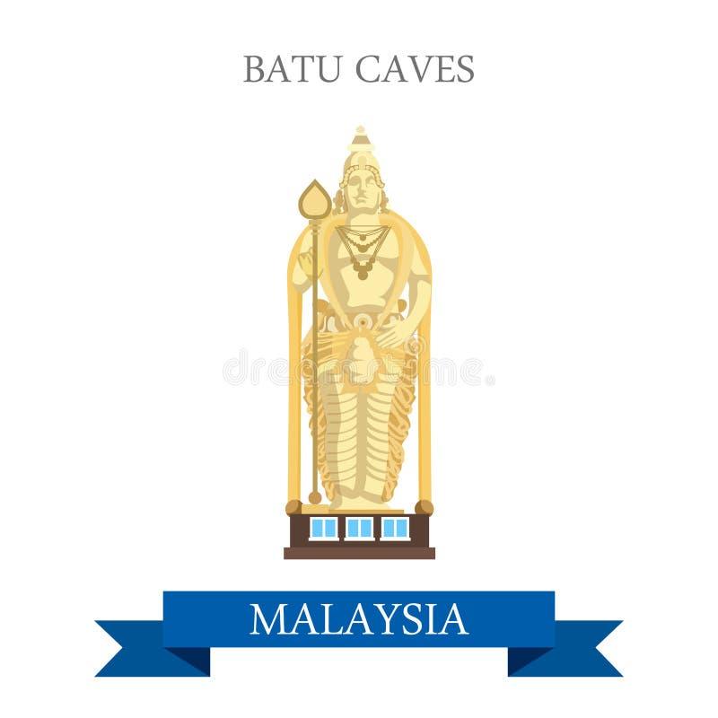 Voyage d'attraction de Selangor Malaisie de cavernes de Batu visitant le pays illustration de vecteur
