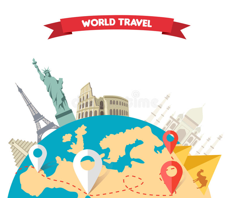 Voyage d'aventure du monde illustration libre de droits