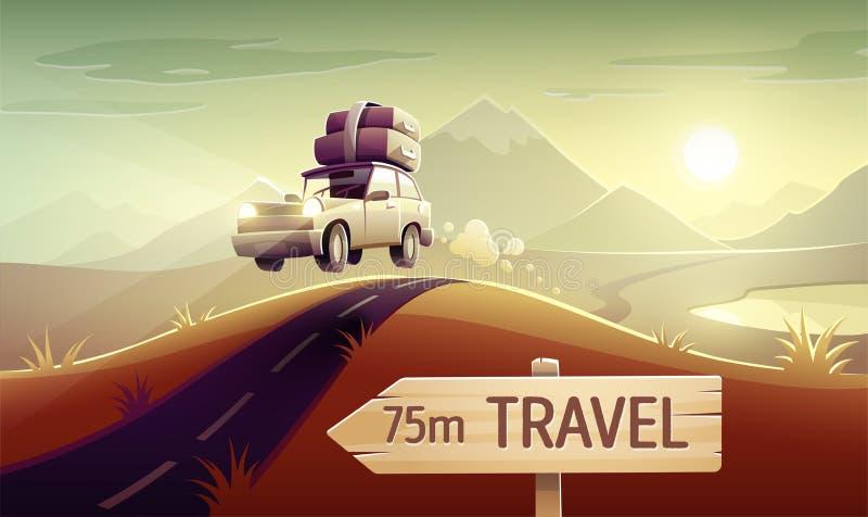 Voyage d'entraînement de vacances de voyage de famille en la voiture illustration de vecteur