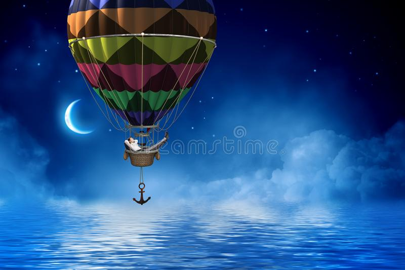 Voyage d'homme d'affaires sur le ballon à air image libre de droits