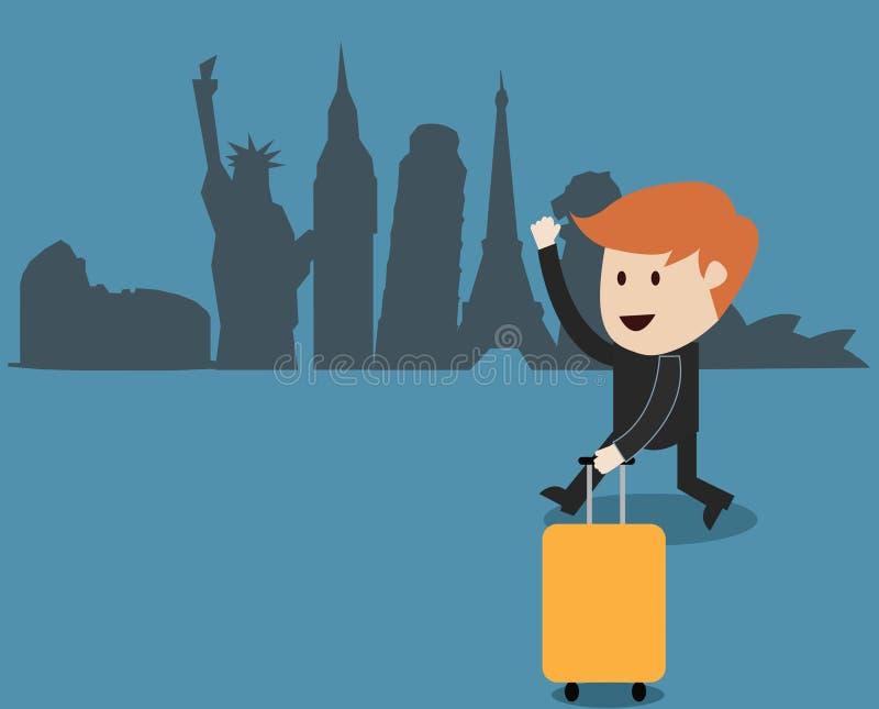 Voyage d'homme d'affaires autour du monde illustration de vecteur